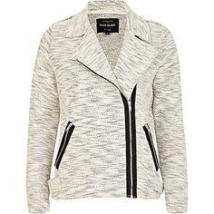 Cream marl soft biker jacket £50.00