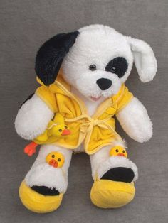 giggling dog BUILD A BEAR white COOKIES & CREAM w/ DUCKY ROBE SLIPPERS & duck  #BuildaBear