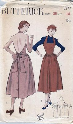 Butterick Dresses Halter Bow Aprons Vintage Sewing Patterns 1950 Sun Dresses House Dresses Apron Dress Low Back Neckline Square Neckline Sleeveless Dart fitted Tie Ends Back Button Flared Skirts Gathers Gored Skirts Wrap Dresses 1940s Fashion, Diy Fashion, Vintage Fashion, Club Fashion, Origami Fashion, Fashion Details, Korean Fashion, Fashion Tips, Vintage Dress Patterns