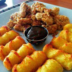 Fried chicken,BBQ sauce, potato