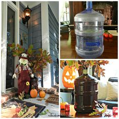 Transform one of those large water jugs by spray painting it! 5 Gallon Water Bottle, Water Bottle Crafts, Large Water Bottle, Water Jugs, Glass Bottle, Recycled Bottles, Recycled Crafts, Large Water Containers, Plastic Jugs