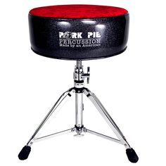 Pork Pie Round Drum Throne Black Sparkle with Red Crush Top  $180