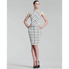 Christian Dior Grid-Print Dress, found on polyvore.com