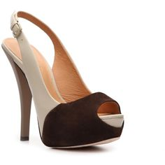 L.A.M.B. Nomad Slingback Pump - Brown/Ivory ($120) ❤ liked on Polyvore