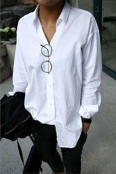 sneakers and pearls, street style, white cotton shirt, black pants, trending now.jpg