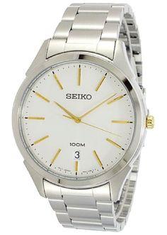 Seiko Quartz Mens Silver Dial Two Tone Bracelet Dress Watch SGEG71