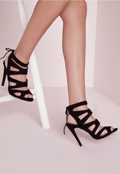 2d060cff9c6381 Missguided - Laser Cut Heeled Sandals Black. Chaussures À Talons ...