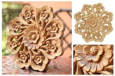 Wood Relief Panel from Thailand - Floral Kaleidoscope | NOVICA
