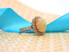 A beautiful opal ring.