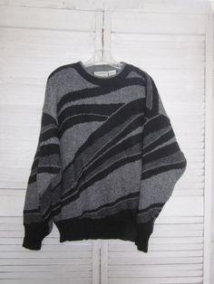 Vintage 80s Hipster Sweater Mens Knit Crewneck Pullover Sweater Grey and Black Acrylic Wool L Large Geometric by MarjoriesMemories on Etsy https://www.etsy.com/listing/166875046/vintage-80s-hipster-sweater-mens-knit