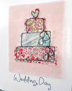 53 trendy ideas for wedding card diy note Wedding Day Cards, Wedding Shower Cards, Wedding Cards Handmade, Freehand Machine Embroidery, Free Motion Embroidery, Fabric Cards, Fabric Postcards, Engagement Cards, Wedding Prints