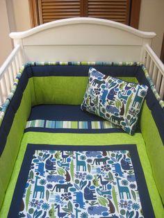 Pretty green and blue baby boy bedding