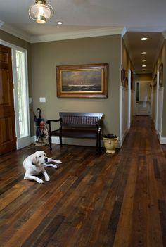 hardwood flooring Real, hard wood floors have such an organic and more authentic feeling versus wood laminate. Hardwood Floor Colors, Dark Hardwood, Heart Pine Flooring, Pine Floors, Wide Plank Flooring, Basement Flooring, Flooring Ideas, Cozy Basement, White Flooring