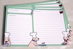 Now you can record your favorite recipes on these adorable green cards featuring a dog cooking pancakes. Description from etsy.com. I searched for this on bing.com/images