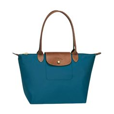 Longchamp Le Pliage Medium Shoulder Tote Monogramming Available (795 DKK) ❤ liked on Polyvore featuring bags, handbags, peacock, leather tote bags, zippered tote bag, blue leather handbags, monogrammed leather purse and hand bags