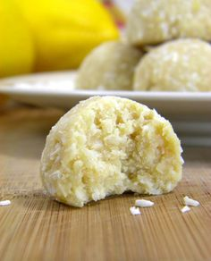 Healthy No bake Coconut Lemon Meltaways. Raw and Vegan.