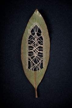 Stitched leaves and leaf cuttings by artist Hillary Fayle