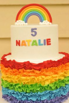 A rainbow cake is fun to look at and eat and a lot easier to make than you might think. Here's a step-by-step guide for how to make a rainbow birthday cake. Send Birthday Cake, Baby Girl Birthday Cake, Themed Birthday Cakes, 5th Birthday, Rainbow Parties, Rainbow Birthday Party, Bolo Neon, Ballerina Cakes, Birthday Cake Decorating
