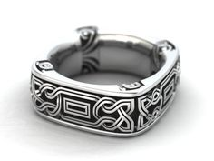 Square Band Celtic knot style in sterling silver