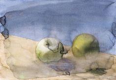 Gerhard Richter, Äpfel (6.1.1987) Apples (6.1.1987), 1987, 16.4 cm x 24 cm, Watercolour and graphite on paper
