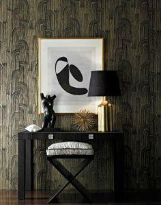black wall+ gold + white
