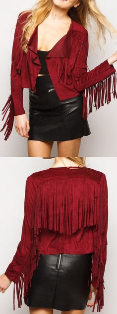 I really really love this  wine red lapel fringe tassel long sleeve suedette jacket .