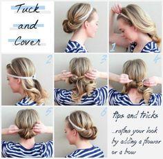 simple DIY hairstyle tucked in headband updo