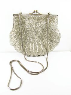 Vintage Beaded Purse in Silver Tone Hand Made / by MyChouChou, $24.00