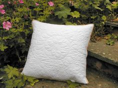 White quilted cushion cover, whole cloth quilt pillow case, white cushion cover White Cushion Covers, White Cushions, Quilt Pillow Case, Whole Cloth Quilts, Quilted Pillow, White Cotton, Classic Style, Pillow Covers, Cotton Fabric