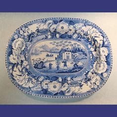 Large Blue and White Staffordshire Platter ca. 1830