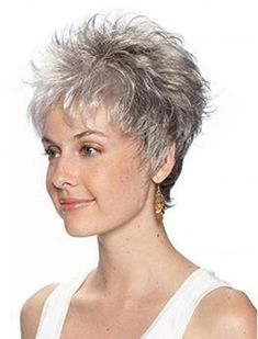 Tsnomore Chic Short Curly Ash Grey Shaggy Ombre Cropped Women Wig