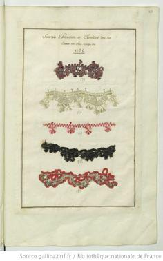 * Sourcils d'hanneton et chenilles dont les dames ont fait usage en 1735  Echantillons d'étoffes et de rubans recueillis par le Maréchal de Richelieu