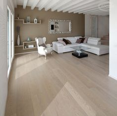 Rock Oak wood flooring / Parquet in rovere nella finitura Pietra Living Room Flooring, Home Living Room, Living Room Designs, Room Interior, Interior Design, Dining Room Blue, Basement Inspiration, Classic House, Bedroom Colors