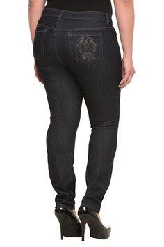Torrid Denim - Sophia Rhinestone Skull Skinny Jeans | Denim