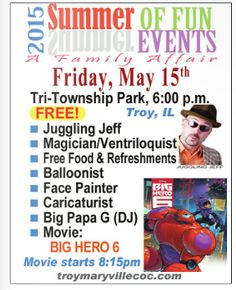 Troy Family of Summer Fun w/ a Movie, May 15, 6p-10:30p; movie @ 8:15p. Tri-Township Park, Troy, IL http://troymaryvillecoc.com/ http://marketplacemagazineonline.com/early-spring-issue-2014.html