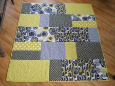 Baby Quilt - Modern - Michael Miller Citron and Grey - Ready to ship