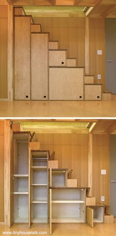 Stairway storage - could be used for camera gear, clothes, boots.