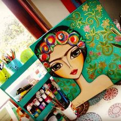 FRIDA Art Journal Inspiration, Painting Inspiration, Diy Canvas, Canvas Art, Arte Pallet, Guache, Fantastic Art, Painting For Kids, Face Art