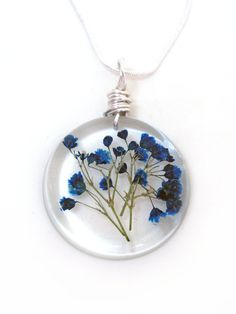 Blue Baby Breath Resin Necklace - Real Pressed Flower Encased in Resin - Pressed Flower Jewelry - Resin Necklace - Gift for her