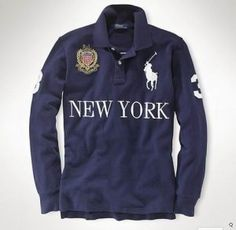 Ralph Lauren Long Sleeved Custom Fit Big Pony City Polo New York 5d61bb40268