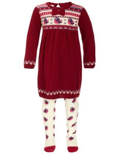 My Design Baby Miss Robin Knitted Dress and Tights | Silver | Monsoon