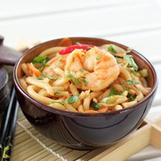Udon noodles with shrimp in a light sweet sauce.