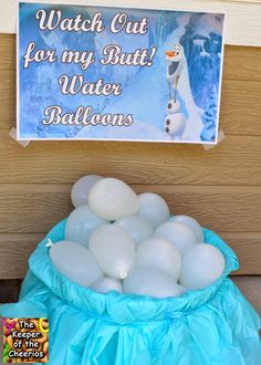 Frozen Birthday Party Watch out for my Butt Water Balloons Frozen Birthday Party Giant Olaf Centerpiece Olaf Birthday Door Wreath Frozen Cupcake Cake Elsa, Anna, Olaf Cake Frozen Food Frozen Rice Krispies (Frozen Snowflakes) Wanna Build a. Olaf Party, Frozen Bday Party, Frozen Themed Birthday Party, Elsa Birthday, Disney Frozen Birthday, Summer Birthday, 4th Birthday Parties, Birthday Fun, Birthday Ideas