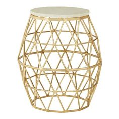 Templar Geometric Side Table, Gold