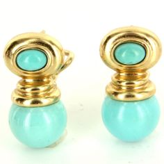 Estate 14 Karat Yellow Gold Turquoise Drop Earrings Fine Jewelry Pre-Owned Used