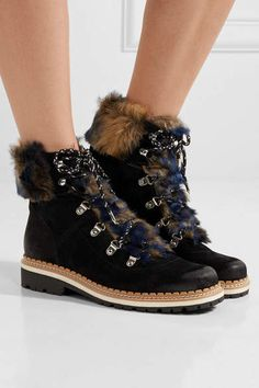 ab10c8ddb  ineedthis Sam Edelman - Bronte Faux Shearling-trimmed Suede Ankle Boots -  Black Affiliate