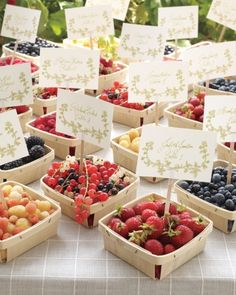 Love this! Farmer's market fruit baskets as table markers, place cards, and edible ones at that.