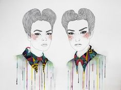 Izziyana Suhaimi blends black and white pencil and watercolour drawings with colorful ornate embroidery in her seductive textured illustrations. Art And Illustration, Illustrations And Posters, Modern Embroidery, Embroidery Art, Contemporary Embroidery, Embroidery Fashion, Watercolour Drawings, Watercolours, Watercolor Pencils