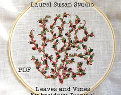 Cherry Blossoms Hand Embroidery Tutorial by LaurelSusanStudio