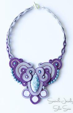 Purple / Grey / Blue Handmade Soutache necklace